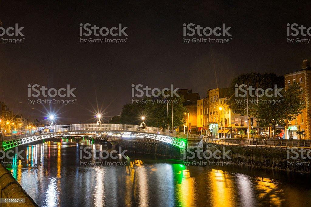 Ha'penny Bridge Dublin, Ireland. stock photo