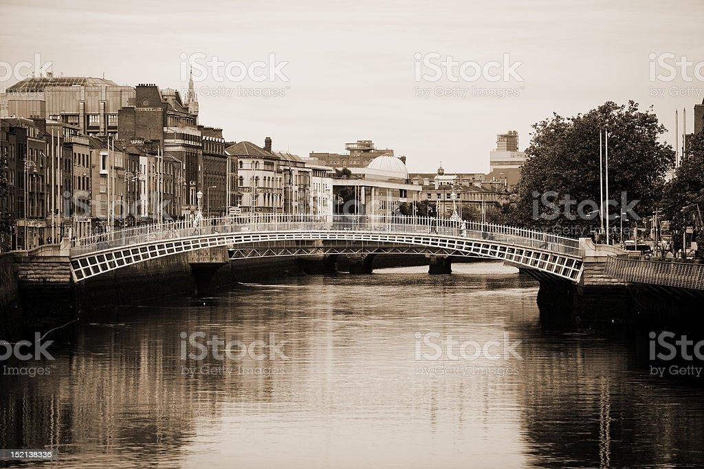 Ha'penny Bridge, Dublin stock photo