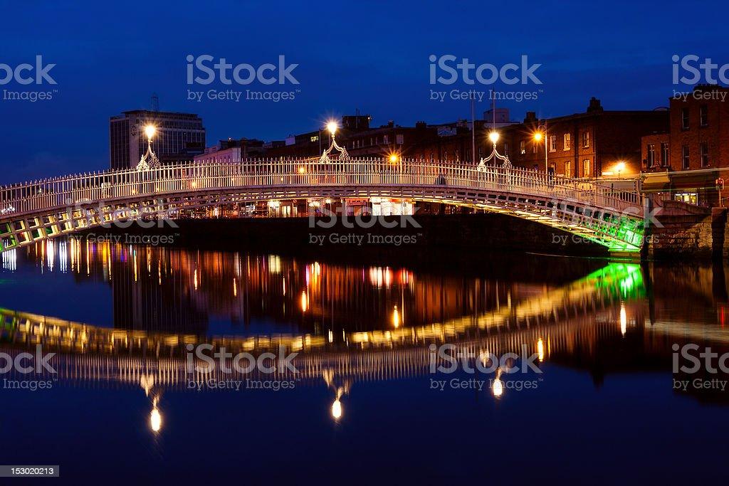 Ha'penny bridge in Dublin at night. Ireland stock photo