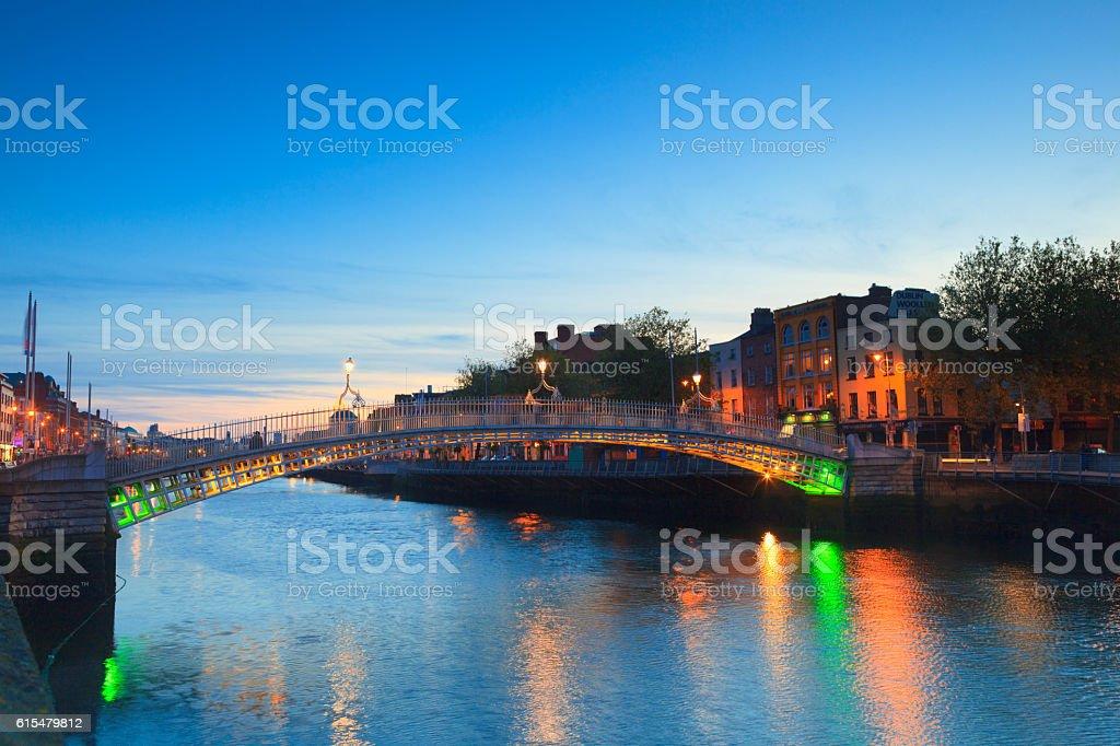 Ha'penny bridge in Dublin by night stock photo