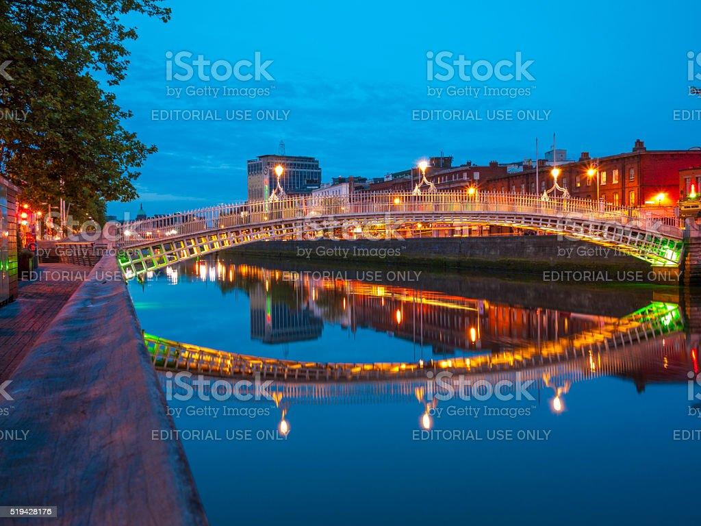Ha'penny Bridge in Dublin, Ireland stock photo
