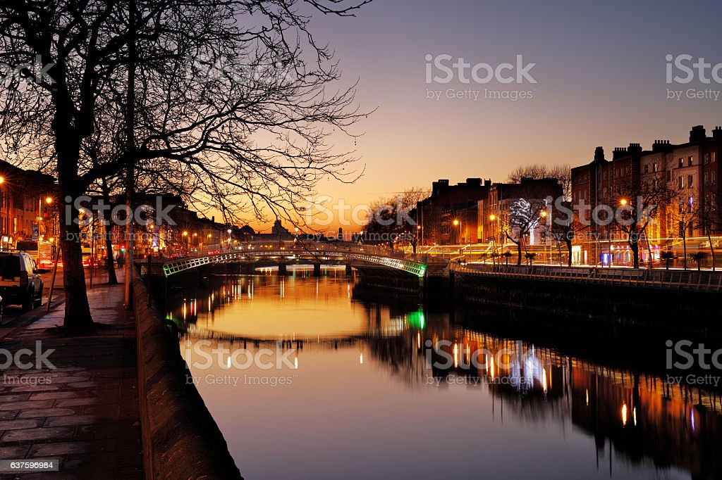 Ha'penny Bridge on the river Liffey in Dublin, Ireland stock photo