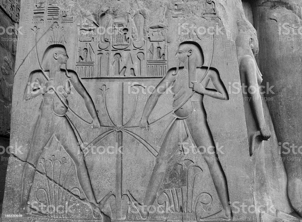Hapi Binding Upper and Lower Egypt, Luxor Temple stock photo