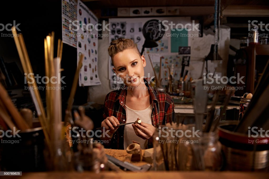 Happiest amongst her clutter royalty-free stock photo