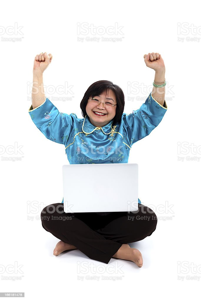 Happiest Chinese Woman with laptop royalty-free stock photo