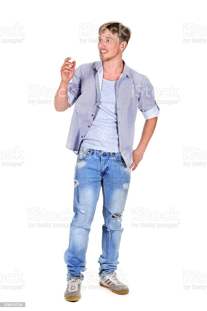 happiest man in jeans and a shirt stock photo