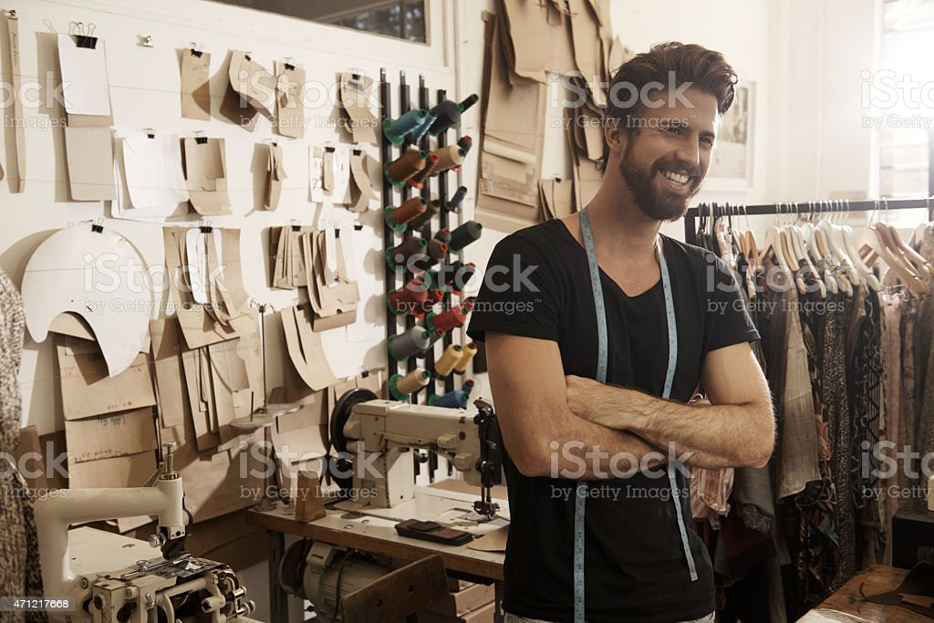 Happiest when I get to work with my hands stock photo