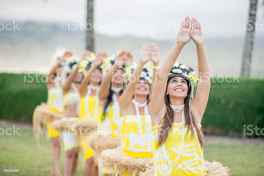 Happily Dancing Together for a Luau stock photo