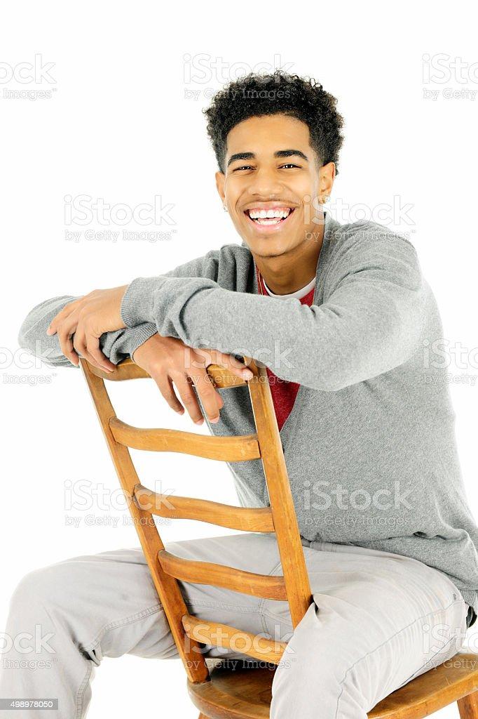 Happily Sitting Backwards stock photo