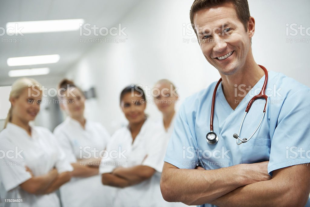 Happily waiting to help you royalty-free stock photo