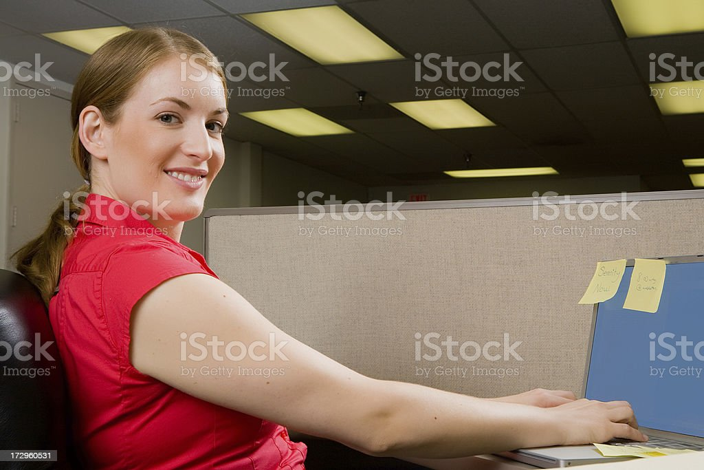 Happily working at the office royalty-free stock photo