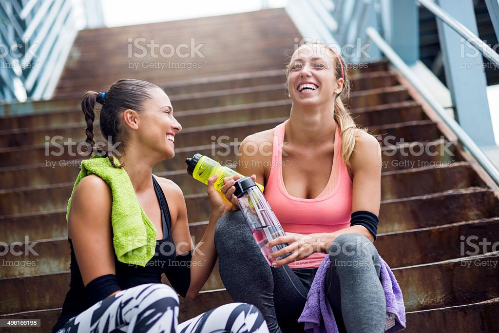 Happiness after training stock photo