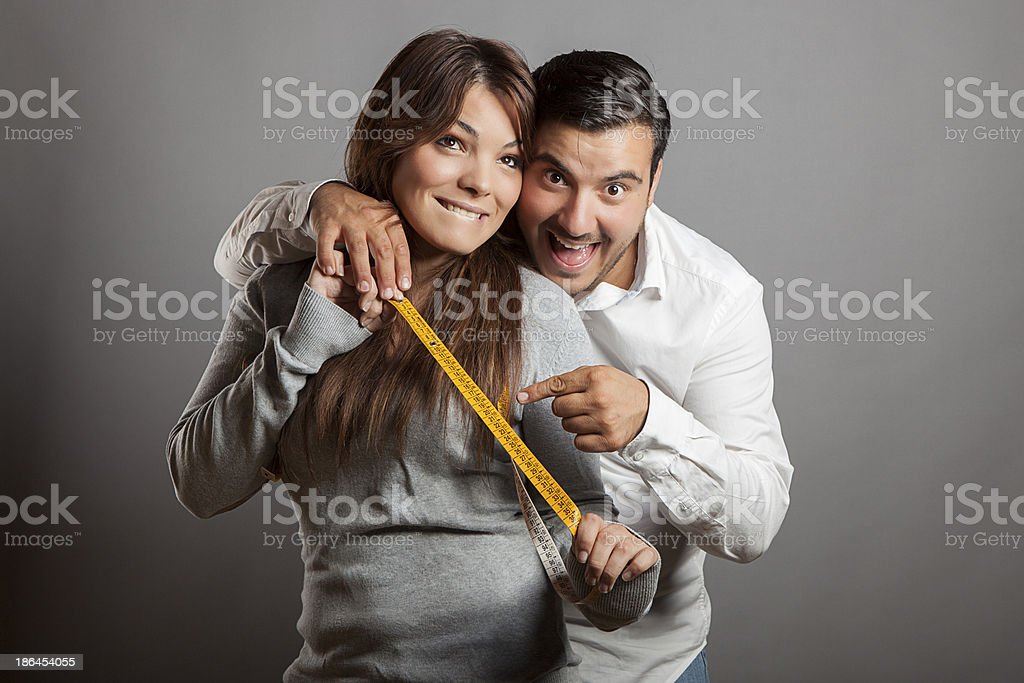 Happiness and boldness couple showing off sex length stock photo