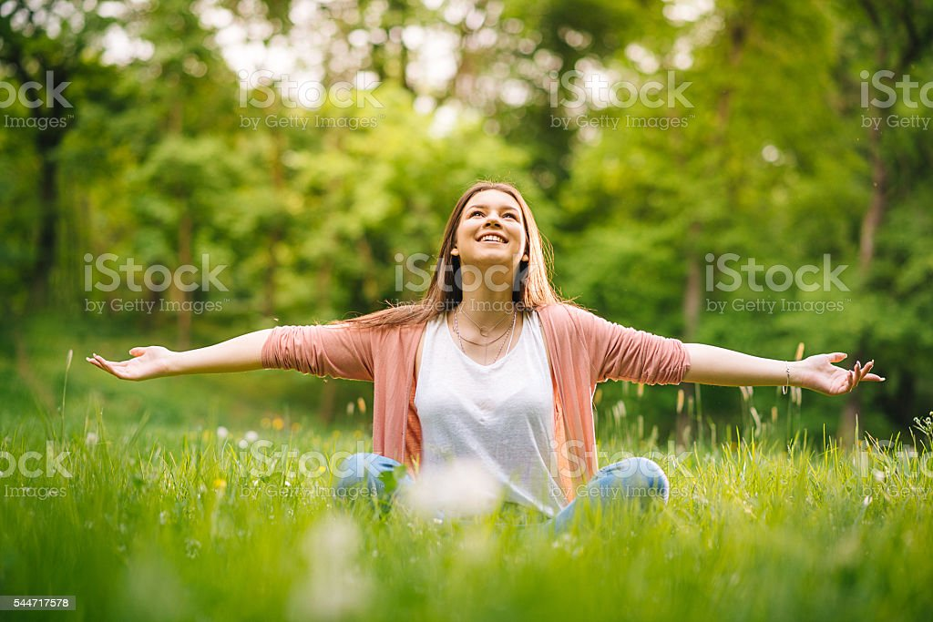 Happiness and relaxation in everyday life stock photo
