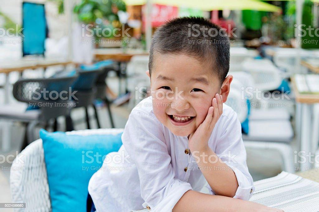 Happiness asian boy stock photo