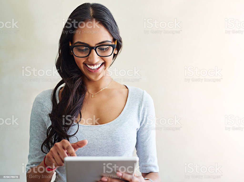 Happiness at the touch of an icon stock photo