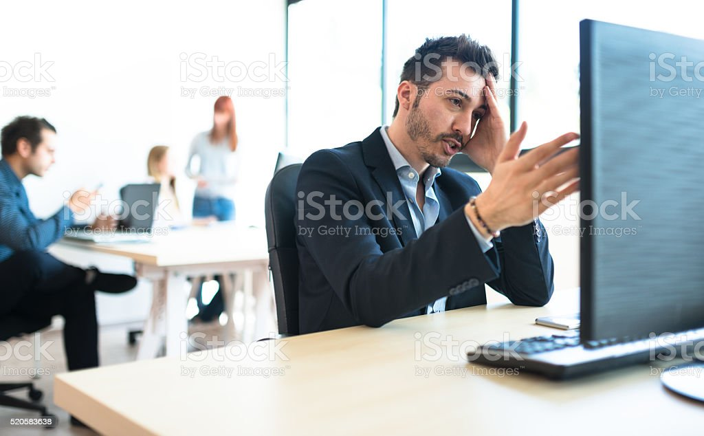 happiness businessman worried in the office stock photo