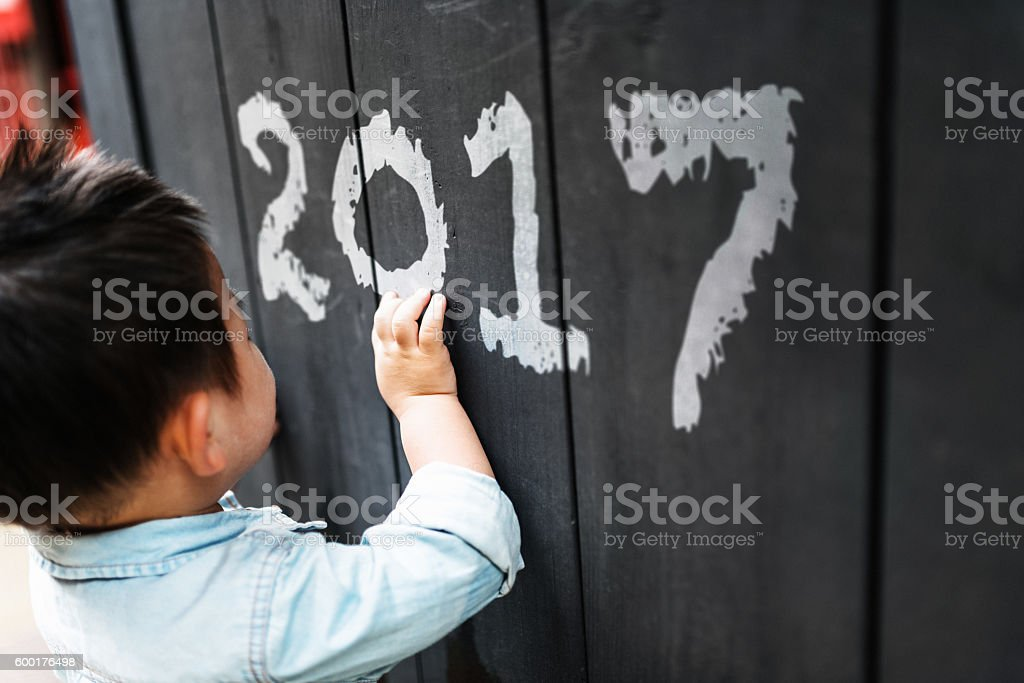 happiness chinese writing the 2017 on the wall stock photo