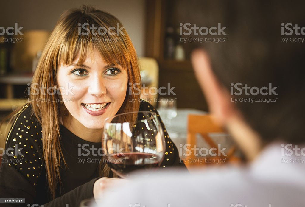 happiness couple laughing at the restaurant royalty-free stock photo