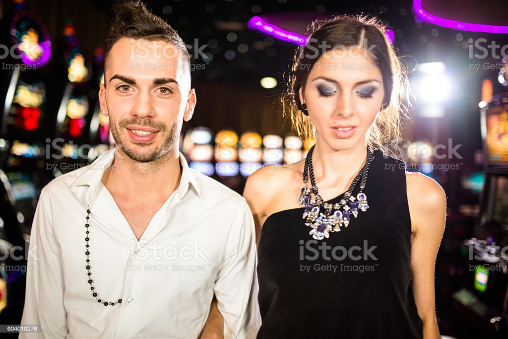 Happiness couple portrait at the casino stock photo
