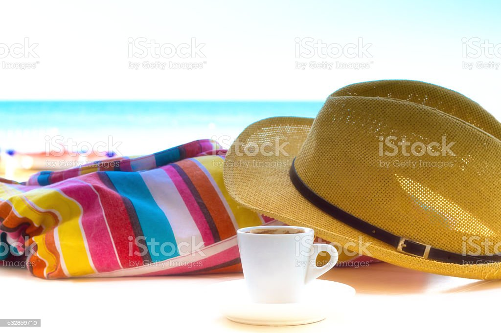 Happiness: Espresso at the Beach stock photo