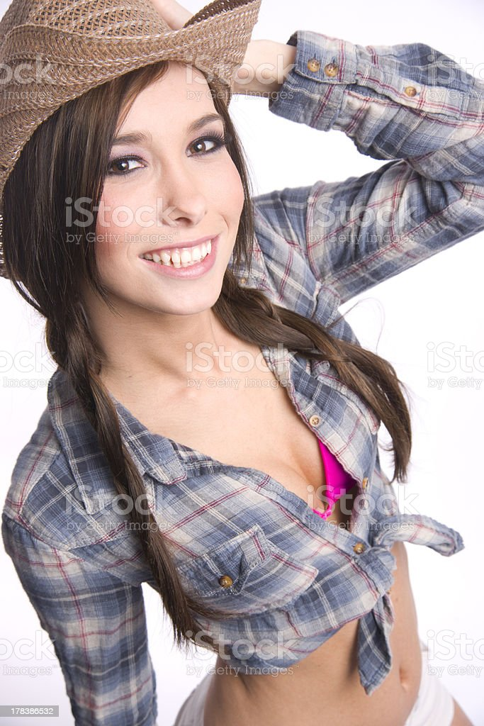Happiness Felt Looking Vibrant Young Western Woman Female Beauty stock photo