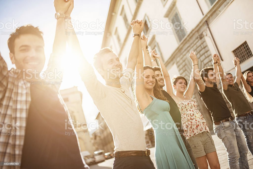 happiness friends on the city stock photo