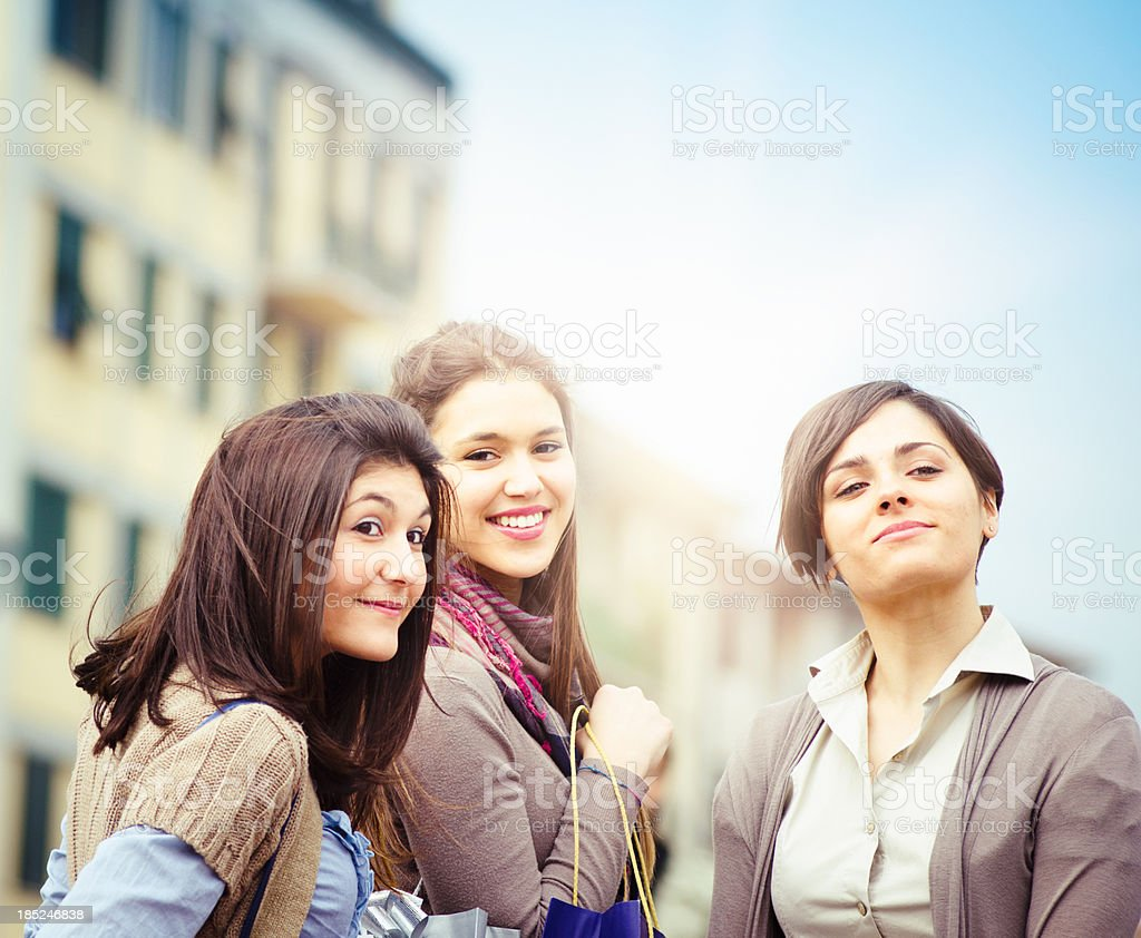Happiness girl after shopping in the street royalty-free stock photo