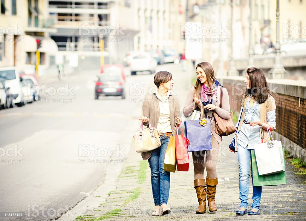 Happiness girl walking in the city with shopping bag royalty-free stock photo