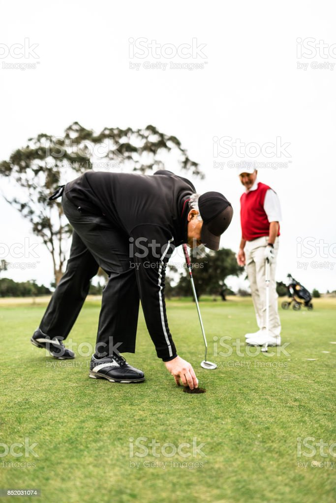 happiness golf player in the golf club stock photo