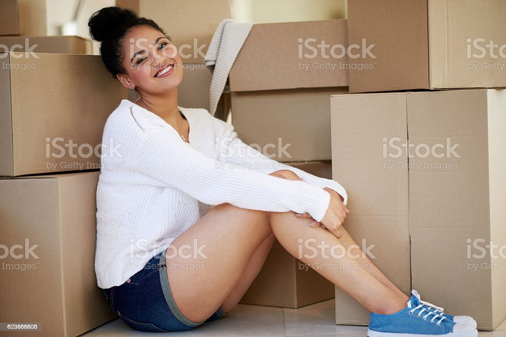 Happiness has a new address stock photo