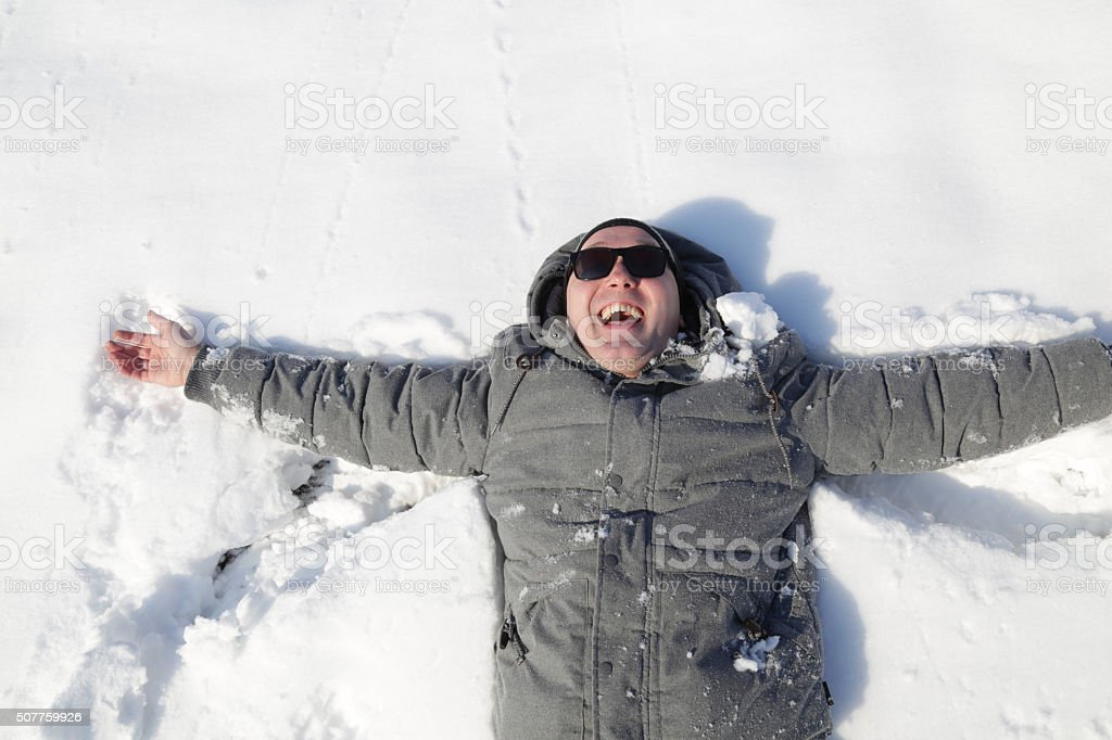 Happiness in snow stock photo