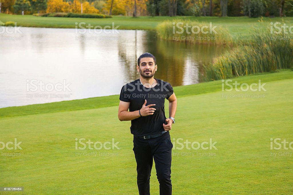 happiness in the nature. stock photo