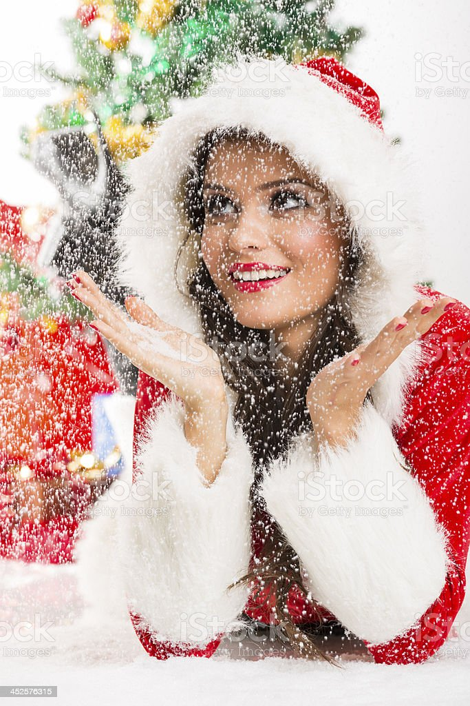 Happiness in the snow stock photo