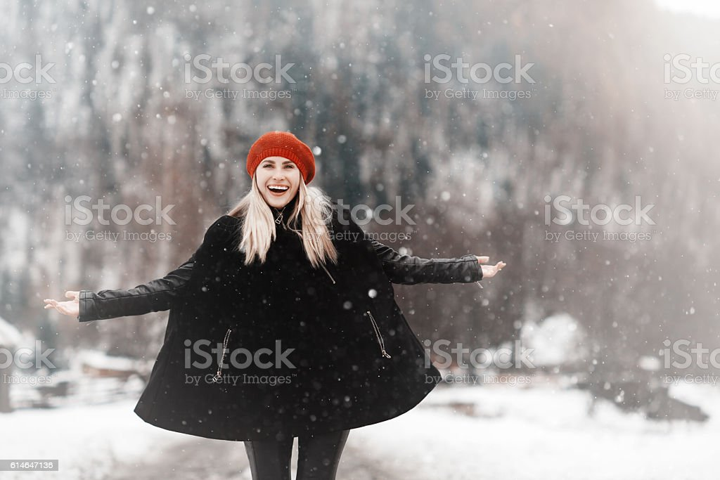happiness in the winter stock photo