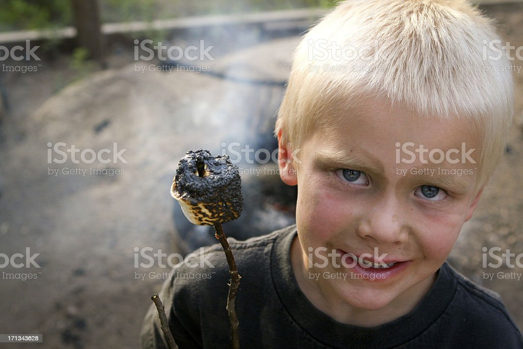 Happiness is a burnt marshmallow stock photo