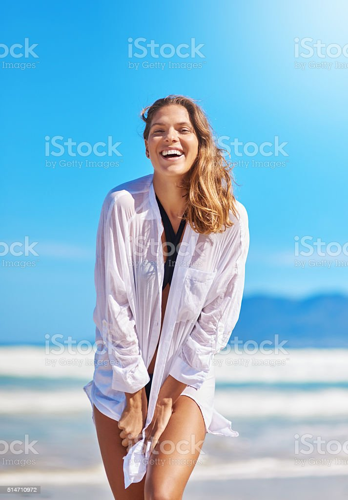 Happiness is a day at the beach stock photo