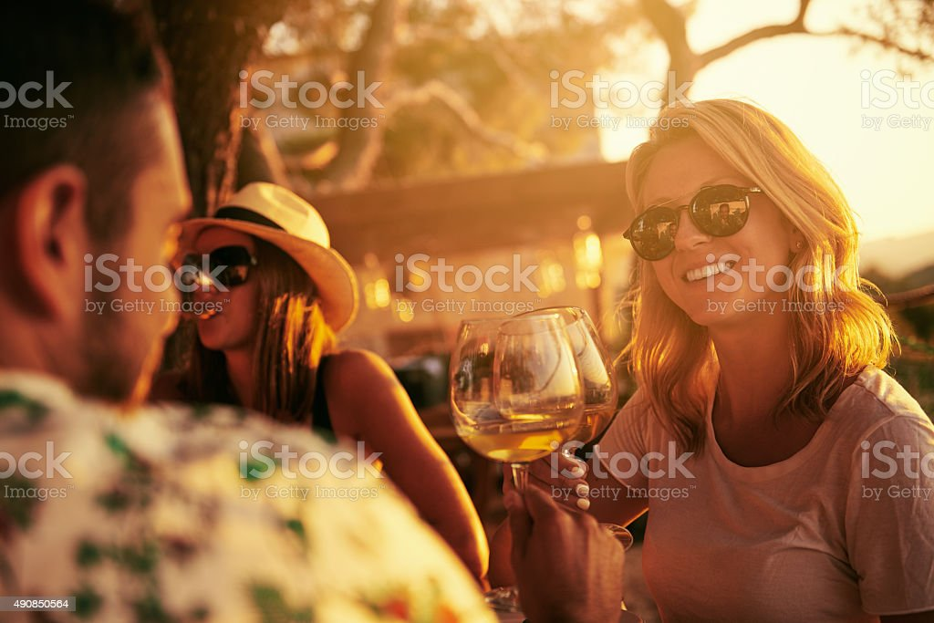 Happiness is a day out with friends stock photo