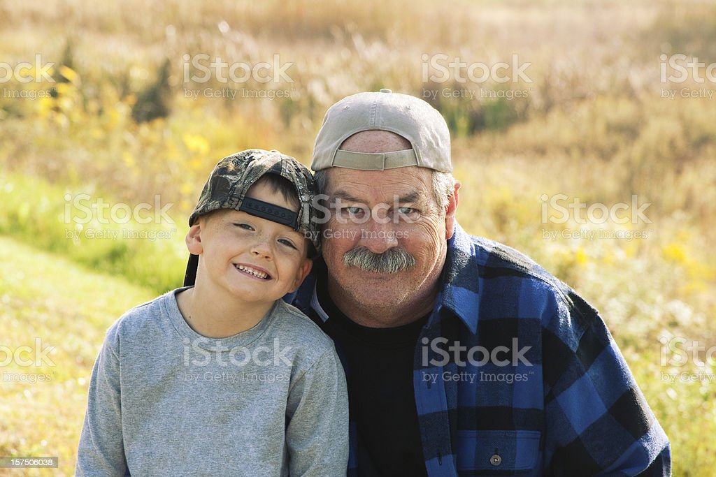 Happiness is a Day with Grandpa and Grandson royalty-free stock photo