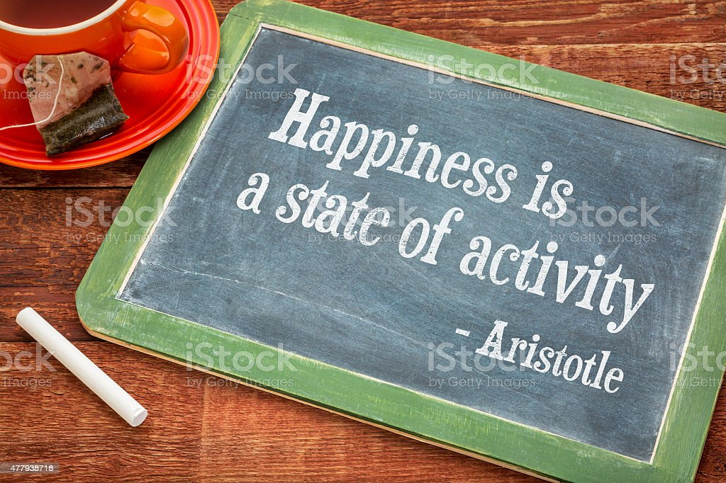 Happiness is a state of activity stock photo