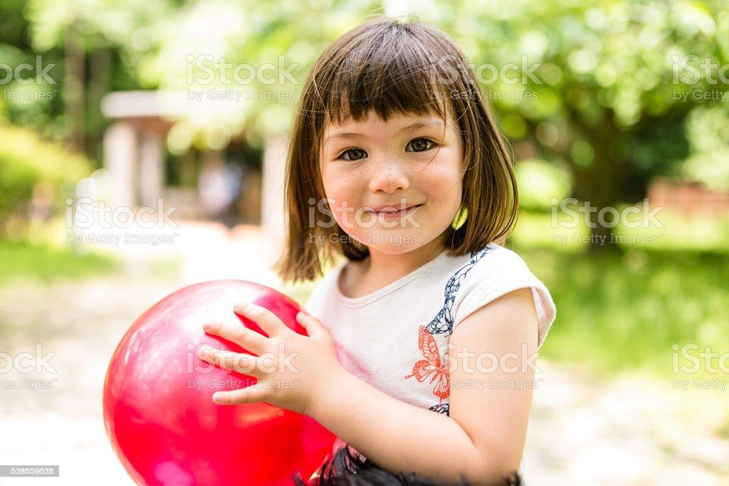 happiness japanese mixed race little girl portrait stock photo