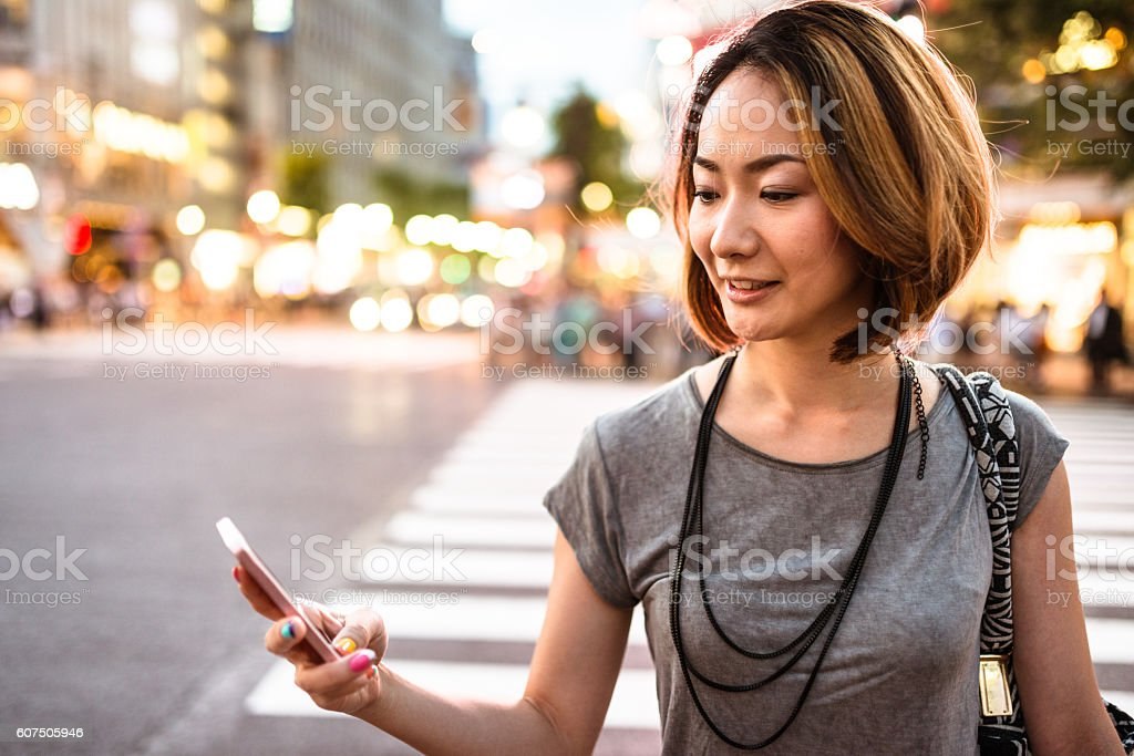 happiness japanese woman enjoy the night in tokyo stock photo
