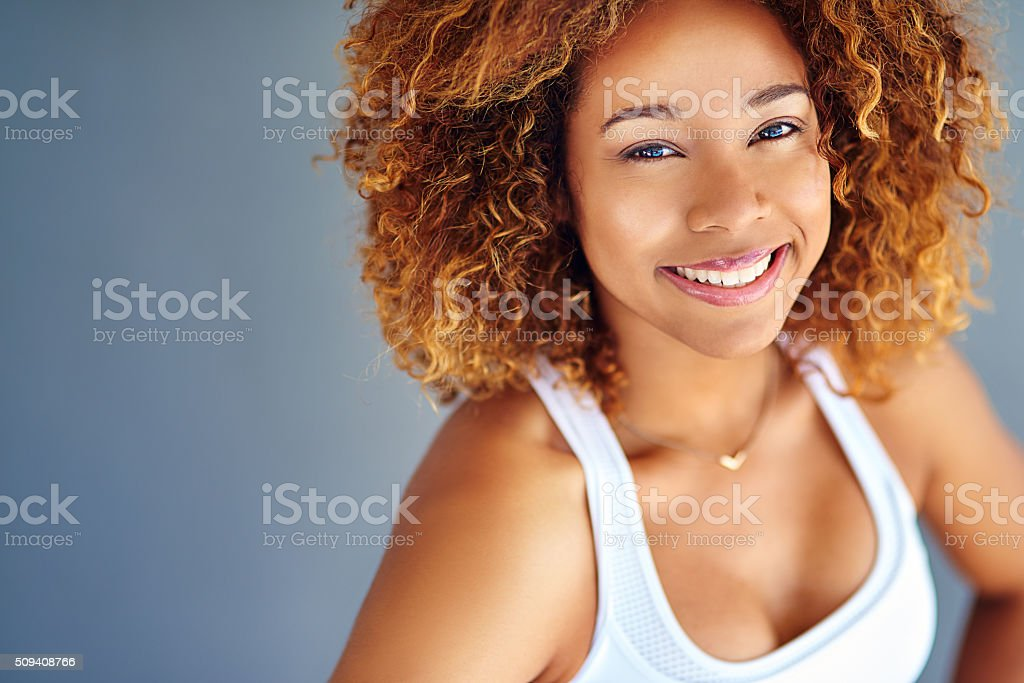 Happiness looks good on you stock photo