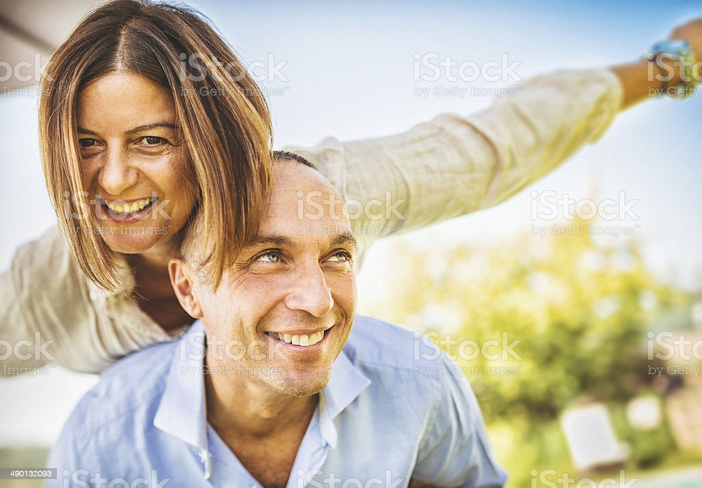 happiness mature couple embracing stock photo
