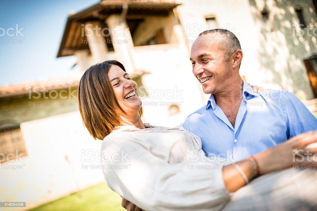 happiness mature couple embracing stock photo