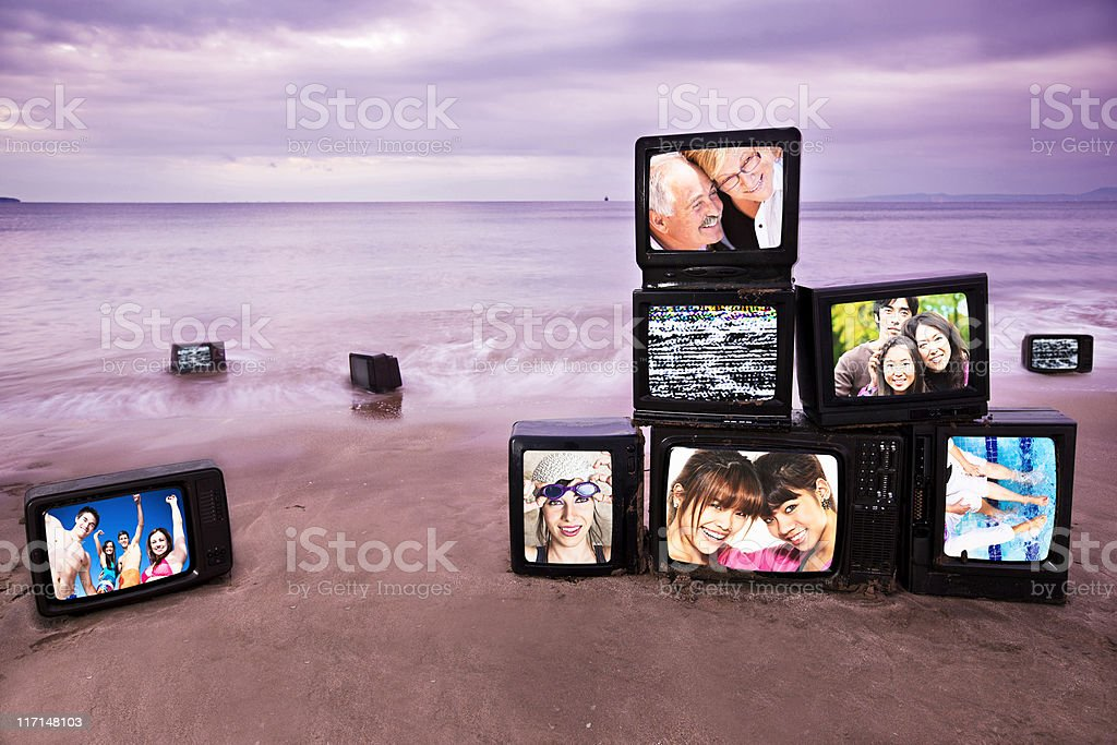 Happiness morning televisions royalty-free stock photo