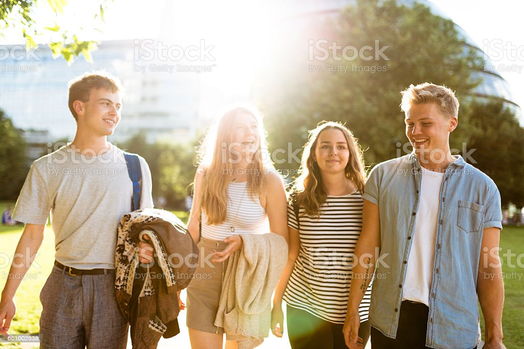 Happiness multiracial Friends embraced togetherness in London stock photo