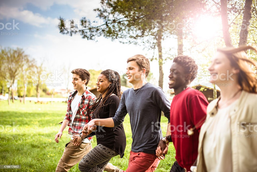 Happiness multiracial Friends embraced togetherness stock photo