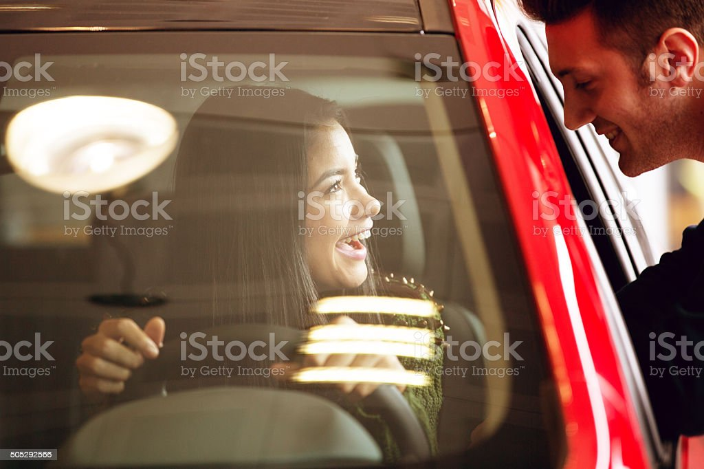 Happiness of Buying a New Car stock photo