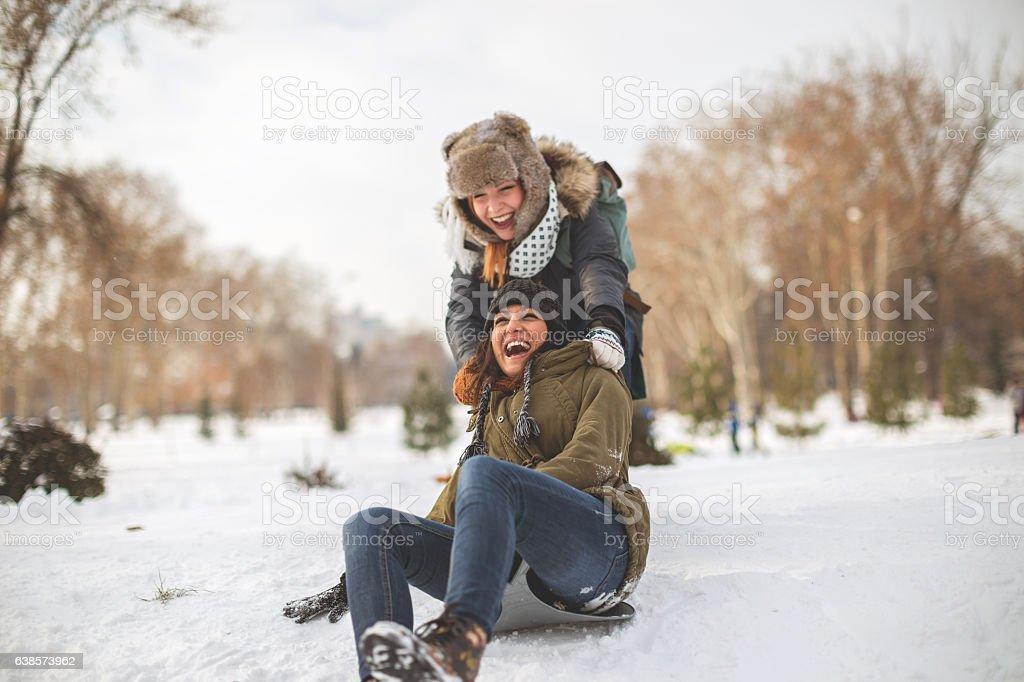 Happiness on snow stock photo